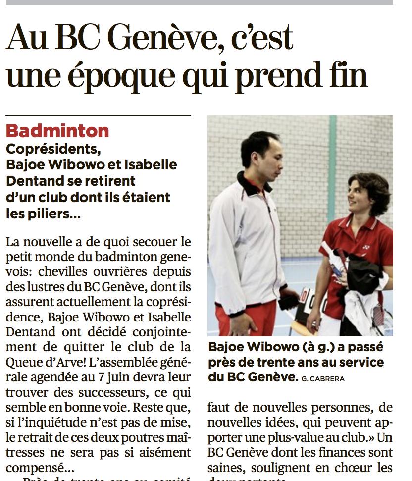 Badminton Club Genève, Bajoe Wibowo, Isabelle Dentand