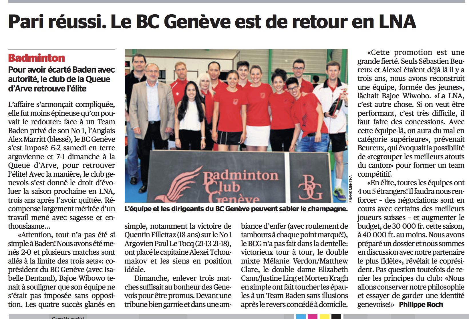 Isabelle Dentand Bajoe Wibowo Pari réussi Badminton Club Genève