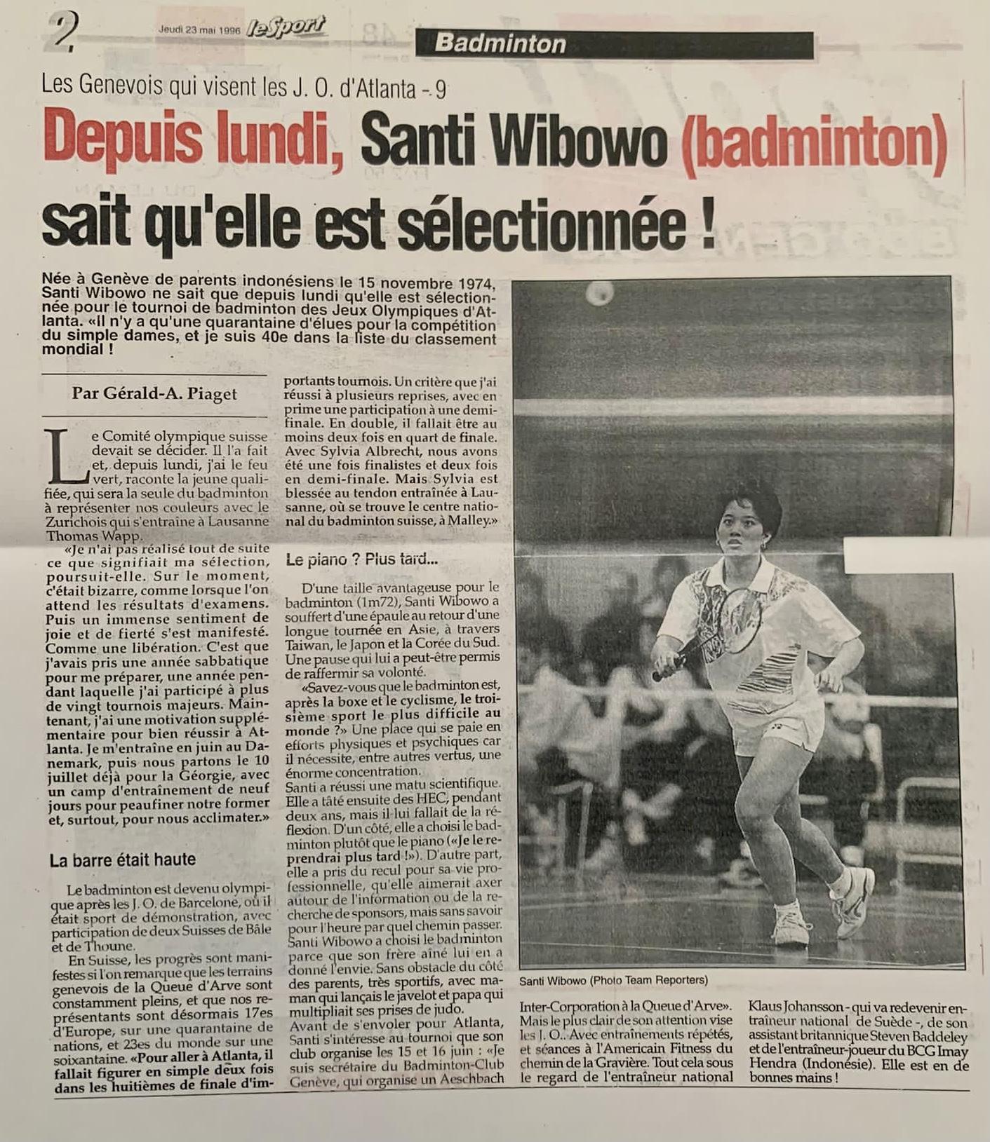 Badminton Club Genève Santi Wibowo selectionnée
